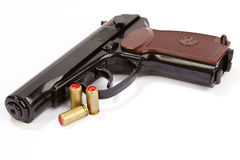 Black handgun And ammunition Royalty Free Stock Images