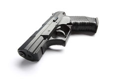 Black handgun on white Stock Photography