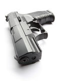 Black handgun on white Stock Photos
