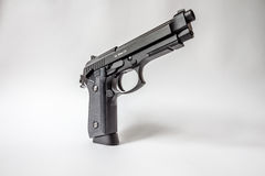 Black handgun on white background Royalty Free Stock Images