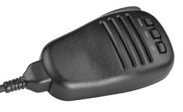 Black handheld dynamic radio microphone Stock Photo