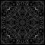 Black handkerchief with white ornament Royalty Free Stock Photos