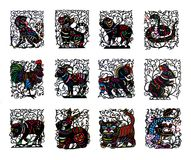 Black handmade cut paper chinese zodiac animals. Isolated on white background royalty free stock photos