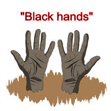 Black hands in the cartoon style, a sign of the hand for the pos Stock Image