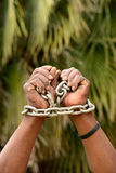 Black hands in chains Royalty Free Stock Photos