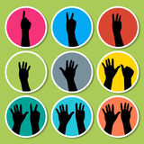 Black hands counting from 1 to 9 with fingers icon. Illustration vector Stock Images