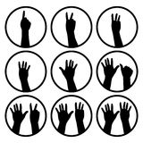 Black hands counting from 1 to 9 with fingers icon. Illustration vector Royalty Free Stock Photography