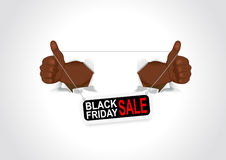 Black hands holding a black friday sale banner Stock Image