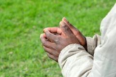 Black hands of South African begger Royalty Free Stock Photography