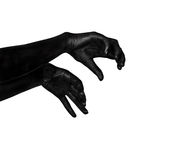 Black hands. Zombie apocalypse. Black hand isolated on white background. The zombie apocalypse Royalty Free Stock Images
