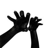 Black hands. Zombie apocalypse. Black hand  on white background. The zombie apocalypse Royalty Free Stock Image
