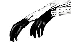 Black hands. Zombie apocalypse Royalty Free Stock Photos