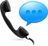 Black Handset and blue speechbox Stock Photos