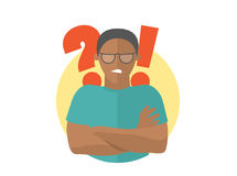 Black handsome man in glasses angry doubts, offended. Flat design icon. Guy with a question and exclamation marks. Simply editable. Isolated on white vector Royalty Free Stock Photography