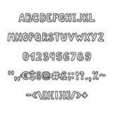 Black handwritten alphabet and figures Stock Photos