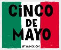 Hand Drawn Cinco de Mayo-May Fifth Vector Poster. Mexican Flag Made of Green, White and Red Grunge Stripes. royalty free illustration