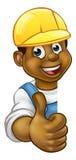 Black Handyman Hard Hat Thumbs Up Royalty Free Stock Images