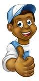 Black Handyman Peeking Sign Thumbs Up Stock Photography