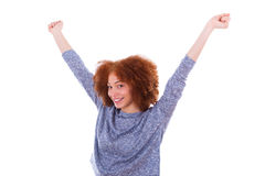 Black happy  African American girl  raising arms up Royalty Free Stock Images
