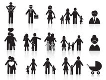 Black happy family icons set Royalty Free Stock Photography