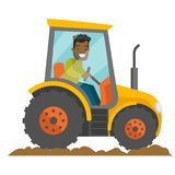 A black happy farmer in tractor on a rural farm field. A worker in rural area. arming, country, agriculture, harvest and gardening concept. Vector cartoon Stock Photography