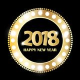 Black Happy New Year 2018 greeting card concept with golden cuted white numbers. Vector illustration Stock Photos