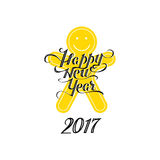 Black Happy new year 2017 vector lettering. Black vintage Happy new year 2017 vector lettering and yellow smiling gingerbread man stock illustration