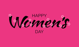 Black Happy Womens Day lettering on pink purple background with pink flowers. Vector Illustration of a greeting card. Happy Womens Day typographic lettering on vector illustration