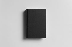 Black Hardcover Book Mock-Up - Front Stock Photo