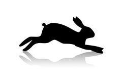 Black hare illustration. Black running hare illustration on the white background Stock Photo
