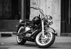 Black harley. Harley davidson softail motorcycle in black and white royalty free stock image
