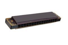 Black harmonica isolated on white Stock Photos
