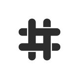 Black hashtag icon with cut ends Royalty Free Stock Photo