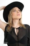 Black hat. Pretty blond in black hat Stock Photos