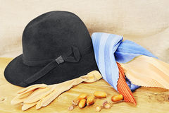 Black hat and autumn still life Stock Photography