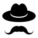 Black hat con i baffi Fotografia Stock
