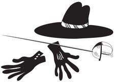 Black hat con i guanti e la spada Illustrazione di Stock