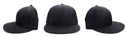 Black Hat at Different Angles. Three shots of a fitted black hat from different angles isolated on a white background royalty free stock photography