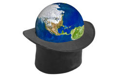 Black hat and earth Royalty Free Stock Image