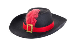 Black hat with feather Royalty Free Stock Photography