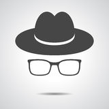 Black hat with glasses Royalty Free Stock Images