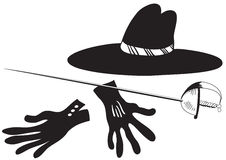 Black hat with gloves and epee Stock Photography