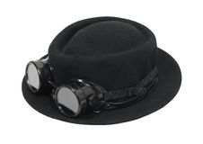 Black hat and goggles. Black hat and dark goggles to be worn for protection and fashion - path included Stock Photography
