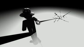 Black hat hacker piercing screen Royalty Free Stock Image