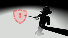 Black hat hacker piercing shield Royalty Free Stock Photography