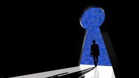 Black hat hacker walks through backdoor Stock Photo