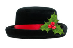 Black hat with Holly berry Christmas decoration Stock Images