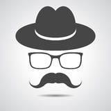 Black hat with mustache and glasses isolated on a grey backgroun Stock Photo