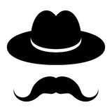 Black hat with mustache Stock Photo