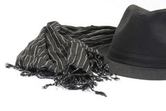 Black hat with striped muffler Stock Images